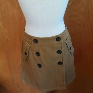 J. Crew Brown Buttoned Mini Skirt Size 4